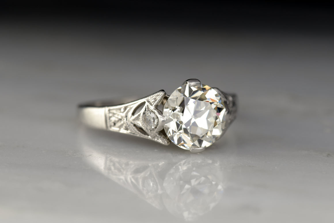 Vintage Cathedral Mount Engagement Ring with a GIA Certified 1.51 Carat Old European Cut Diamond