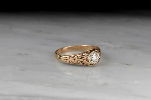 Victorian Belcher Engagement Ring with Deep-Relief Shoulders