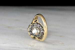 Victorian Cluster Ring with a 1.02 Carat Old European Cut Diamond Center
