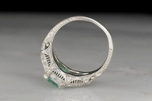 Late Edwardian / Art Deco Platinum Ring with a GIA 1.38 Carat Colombian Emerald Center