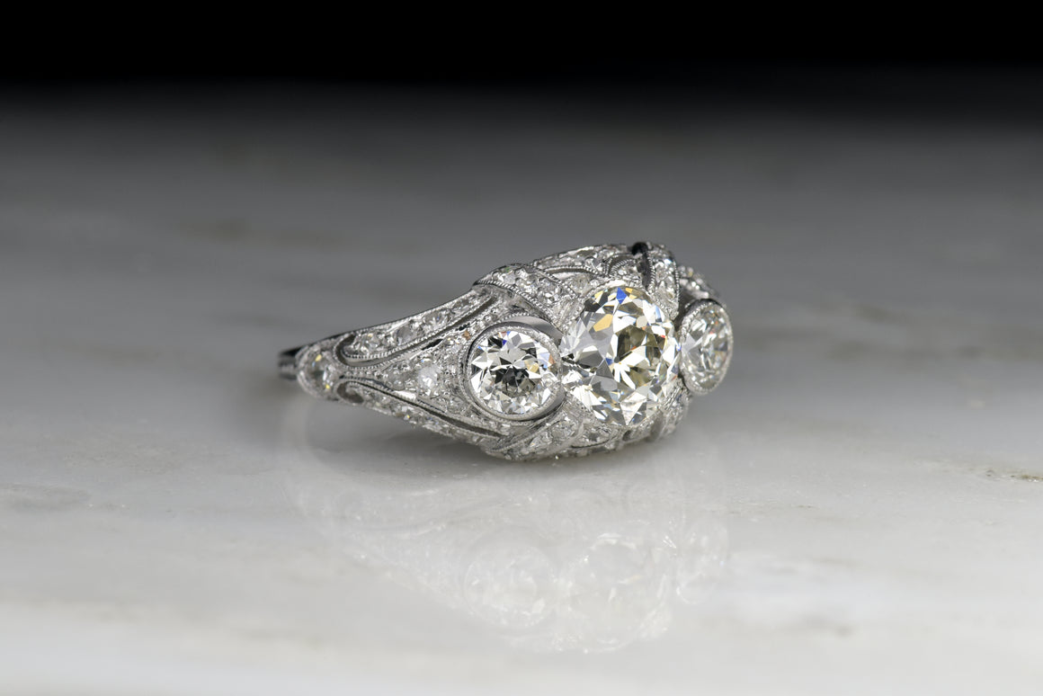 Edwardian Engagement Ring with a .84 Carat GIA Certified Old European Cut Diamond Center and .86 ctw Diamond Accents (1.70 ctw)
