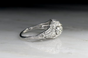 Ornate Pillowy Edwardian Engagement Ring