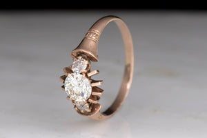 Victorian Rose Gold Engagement Ring with an OEC Diamond Center