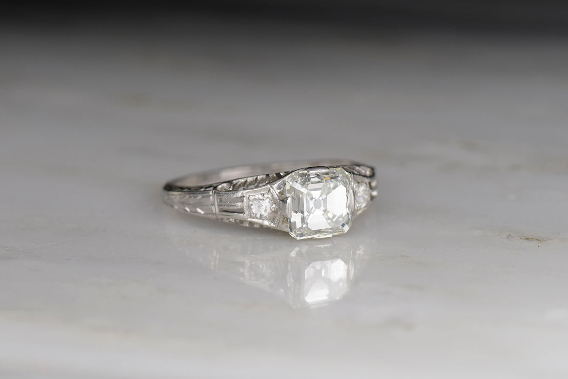 Late Edwardian / Art Deco Engagement Ring with a GIA Certified 1.05 Carat Square Emerald (Asscher) Cut Diamond