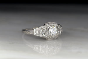 Art Deco / Retro Old European Cut Diamond Engagement Ring