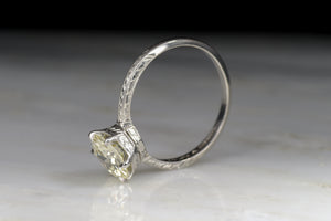 Late Edwardian Solitaire with a 1.59 Carat Old European Cut Diamond Center
