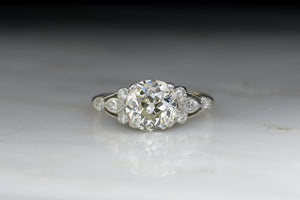 Art Deco / Victorian Revival Engagement Ring with a GIA 1.58 Carat Round Old Mine Cut Diamond Center