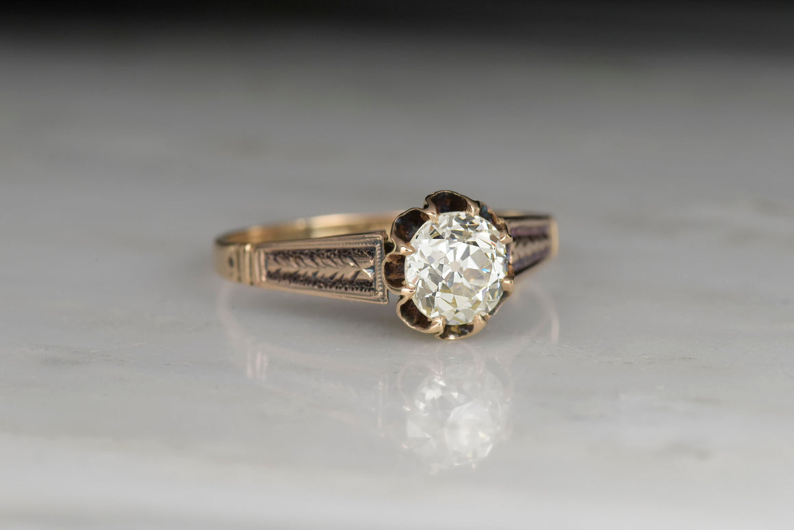 Victorian Solitaire Buttercup Engagement Ring with a .91 Carat Old Mine Cut Diamond