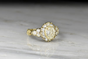 Late Victorian Diamond Cluster Ring with Ornate Deep-Relief Engraving