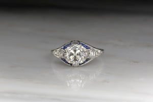Art Deco 1.50 Carat Old Mine Cut Diamond Engagement Ring with Sapphires