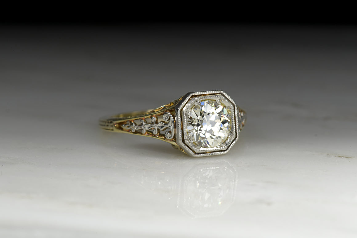 Retro / Victorian Revival Engagement Ring with a GIA .85 Carat Old European Cut Diamond