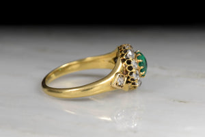Victorian Emerald and Old Mine Cut Diamond Ring in 18K Gold
