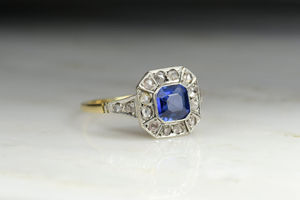Antique Victorian Verneuil Sapphire and Rose Cut Diamond Ring in Gold and Platinum