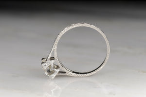 Mid-Century Platinum Engagement Ring with a .90 Carat Old European Cut Diamond
