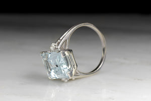 Vintage Late Retro Aquamarine and Diamond Ring in White Gold