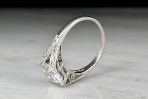 2.30 Carat GIA Transitional Cut Diamond Early Art Deco Engagement Ring