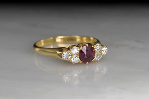 Vintage Birks Ruby and Diamond Ring in 18K Gold