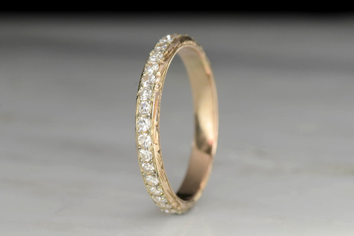 Vintage Hand-Engraved Eternity Wedding Band