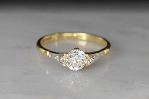 Late Victorian Old Mine Cut Engagement Ring With Cathedral Shoulders