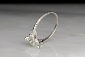 Vintage 1.03 Carat Marquise Cut Diamond and Platinum Engagement Ring