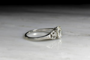 Art Deco Transitional Cut Diamond Engagement Ring with Geometric Shoulder Detailing