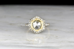 Victorian Hexagonal Two-Toned Ring with an Antique 1.94 Carat Rose Cut Diamond Center