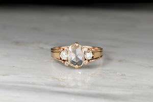 RESERVED!!! Late Victorian Rose Gold Ring with a GIA 1.06 Carat Elongated Cushion Rose Cut Diamond