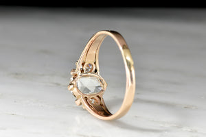 Late Victorian Rose Gold Ring with a GIA 1.06 Carat Cushion Rose Cut Diamond