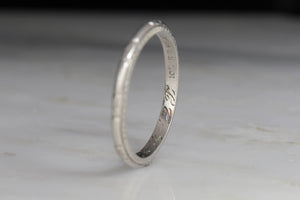 Handmade in 1935 Art Deco Platinum Band