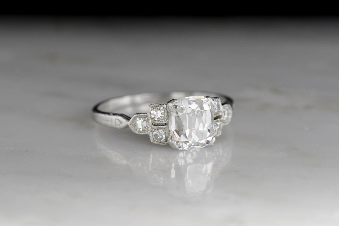 c. 1930s Engagement Ring with a GIA 1.22 Carat Cushion Cut Diamond Center