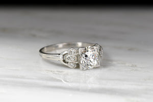 Art Deco Engagement Ring with a GIA 1.10 Carat Old Mine Cut Diamond Center