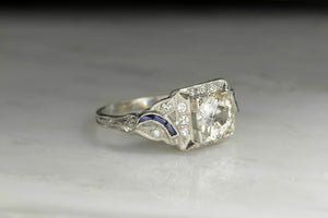 Art Deco Old European Cut Diamond and Sapphire Engagement Ring