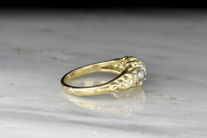 Victorian GIA .84 Carat Old European Cut Diamond Ring with Deep-Relief Shoulders