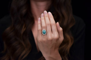 Victorian Turquoise and Old Mine Cut Diamond Halo Ring