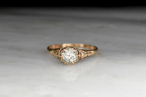 Victorian Rose Gold Buttercup Solitaire Engagement Ring