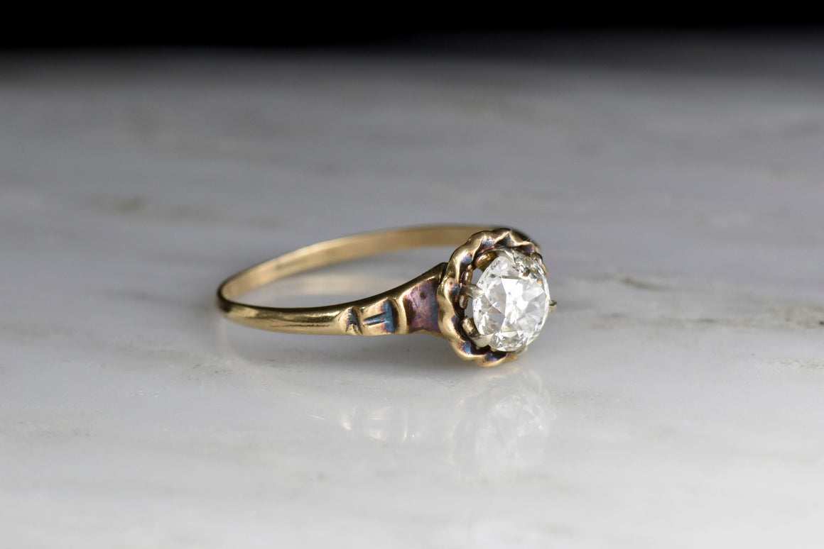 Victorian Revival Solitaire with a Twisted Wire Halo