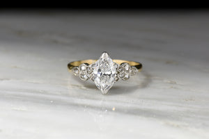 Late Victorian / Belle Époque Two-Tone Ring with a GIA 1.06 Carat Marquise Cut Diamond