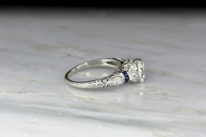 c. 1920s Transitional Cut GIA Diamond and Sapphire Engagement Ring
