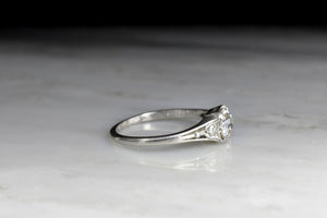 Art Deco/Retro Engagement Ring with Diamond Tulip Shoulders