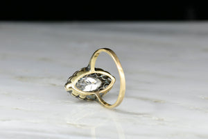 Victorian Navette Cluster Ring with a GIA 1.02 Carat Marquise Cut Diamond