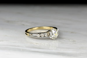 Mid-Century Six-Prong Solitaire with a GIA .93 Carat Old European Cut Diamond