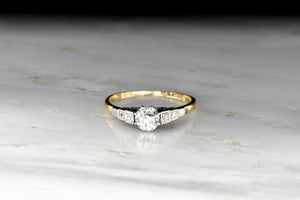 c. 1920s Gold and Platinum Cathedral Mount Diamond Ring