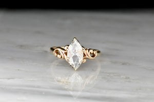 Victorian / Art Nouveau Engagement Ring with a GIA 1.00 Carat Marquise Cut Diamond