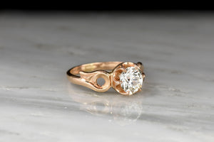 Victorian Revival Buttercup Ring with a GIA 1.46 Carat Old European Cut Diamond