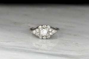 Ornate Filigree and Geometric Diamond Ring from c. 1920s to Early 1930s