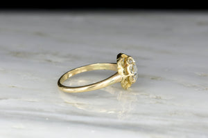 Victorian Double Buttercup and GIA Rose Cut Diamond Engagement Ring