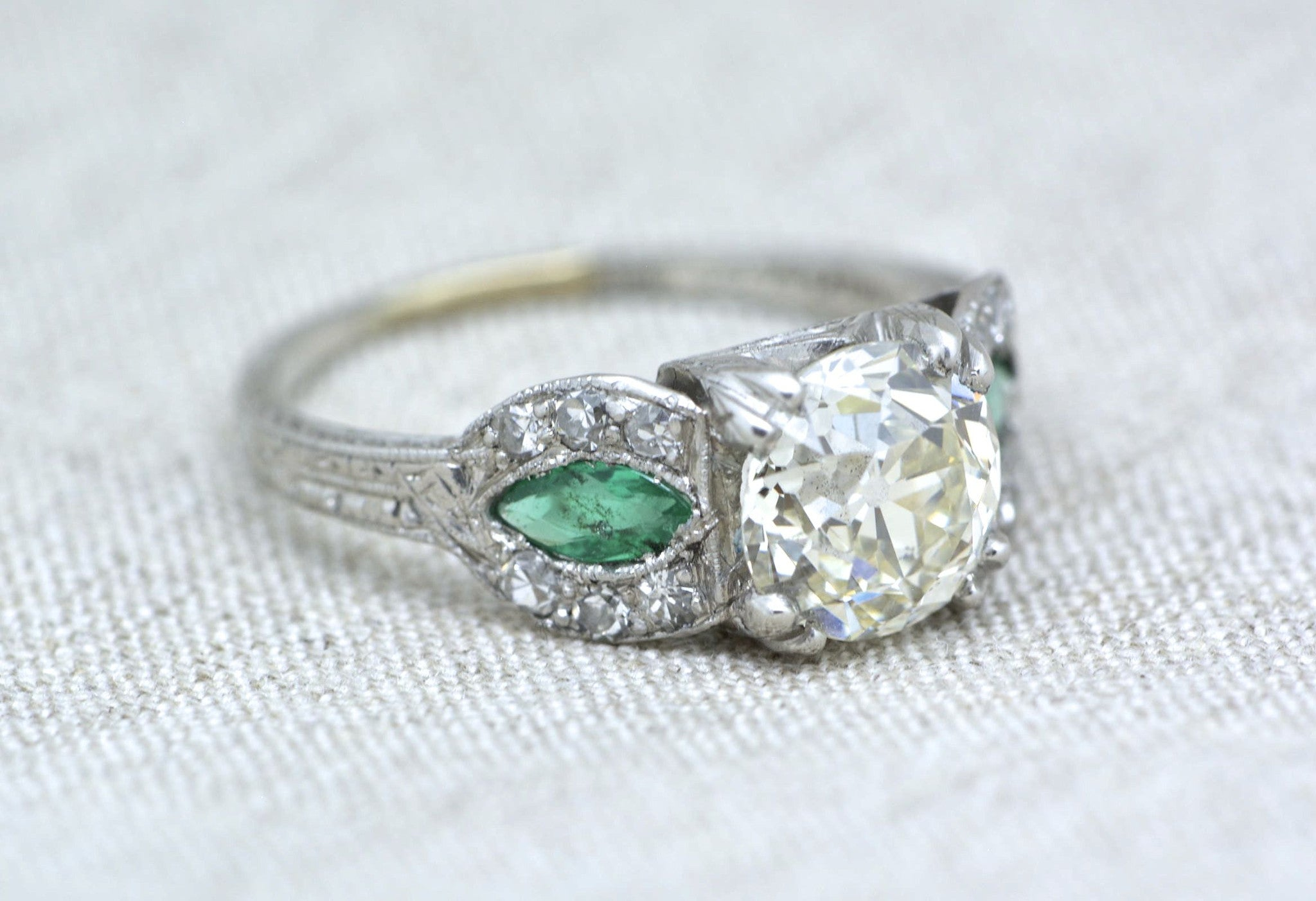ctw diamond rings emerald european products platinum edwardian engraving cut art accents ring engagement with accent single and carat natural old antique diamonds deco