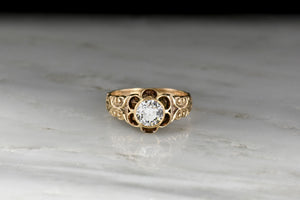 Victorian Bezel-in-Buttercup Diamond Ring with Ornate Engraving