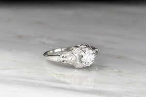 Edwardian Diamond Engagement Ring with Ornate Metalwork