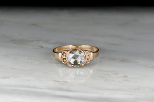 Victorian Engagement Ring with a GIA 1.04 Carat Rose Cut Diamond Center